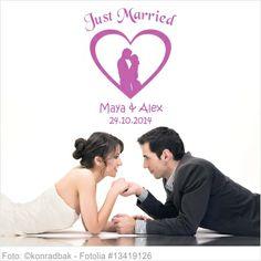 Wandtattoo Hochzeit - Liebespaar im Herz