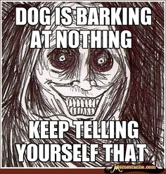 dog is barking at nothing / keep telling yourself that