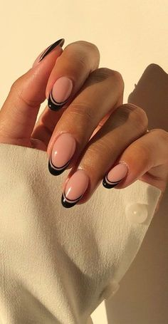 French Tip Acrylic Nails, French Manicure Nails, Almond Acrylic Nails, Best Acrylic Nails, Black French Nails, Rounded Acrylic Nails, French Tip Nail Designs, Almond Nails Designs, Colorful French Manicure