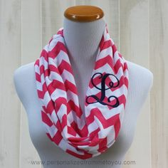 I would love to have one of these.  Monogrammed Chevron Infinity Scarf