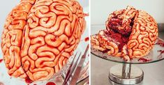 Brain Cake- Learn how to make this surprisingly easy red velvet Brain Cake just in time for Halloween.