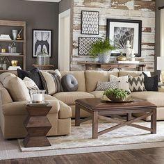 Contemporary Living Room with Bassett Maddo Rug, Crown molding, Built-in bookshelf, Hardwood floors