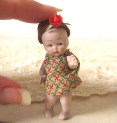 Tiny Bisque Antique German Flapper Girl Doll