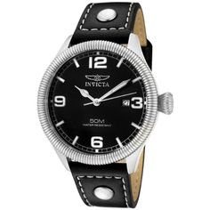 Men's Wrist Watches - Invicta Mens 1460 Vintage Collection Stainless Steel and Black Leather Watch -- Want additional info? Click on the image.