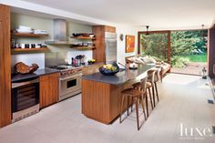 Contemporary Kitchen with Wooden Accents