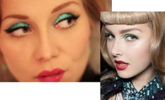 <3 the photo on the right #green #shadow #red #lips