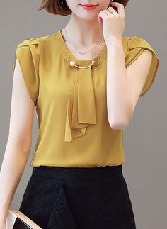 Round Neck Beading Plain Petal Sleeve Blouse is hot sold on ByChicStyle, T-shirts & Blouses,Blouses with high quality guaranteed and fashion elements contained. Blouse Styles, Blouse Designs, Fashion Outfits, Womens Fashion, Fashion Blouses, Cheap Fashion, Fashion Sites, Latest Fashion, Petal Sleeve