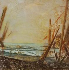 Dori Sanz  -  Marina - técnica mixta #sealandscape #painting #buenosaires