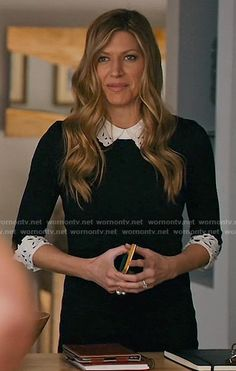 Josslyn's black dress with white collar and cuffs on Mistresses.  Outfit Details: https://wornontv.net/58698/ #Mistresses
