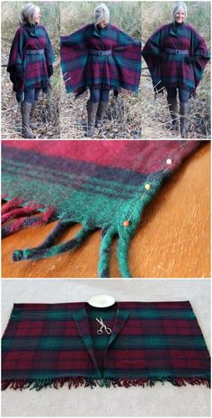 Wool Coat Blanket Pattern Easy Video Instructions This Wool Coat Blanket Pattern is so easy to make and looks great. We have a 44 second video tutorial that will show you how. Poncho Pattern Sewing, Sewing Patterns Free, Pattern Drafting, Kaftan Pattern, Wool Poncho, Wool Coat, Fleece Poncho, Blanket Coat, Blanket Shawl