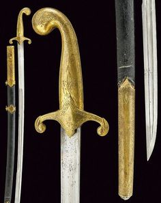 Ottoman military kilij, late 19th century, slightly-curved, single-and false-edged blade with double fuller; massive, brass hilt engraved with floral motifs; wooden scabbard with leather covering sewn with metal spiral stitching, brass mounts decorated en suite, two suspension rings., length 91.5 cm.