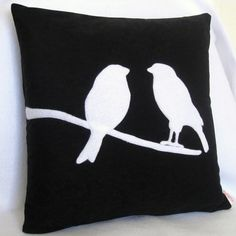 Love Birds on a Branch Pillow Cover 14 x 14 inches by Petette. $24.00, via Etsy.