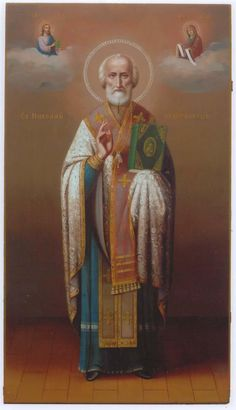A Russian icon of St. Religious Images, Religious Icons, Religious Art, Catholic Art, Catholic Saints, Famous Freemasons, Russian Icons, Saint Nicholas, Orthodox Icons