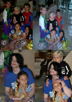 Michael Jackson with his son Prince Michael (age 6) and daughter Paris (age 5) in 2003 with friends.