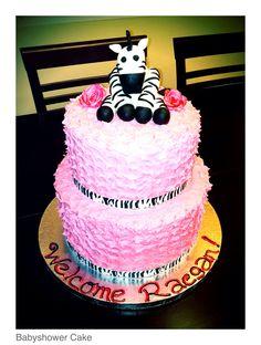 Zebra & Pink Baby Shower Cake.  Cake by: Bella Baby Cakes