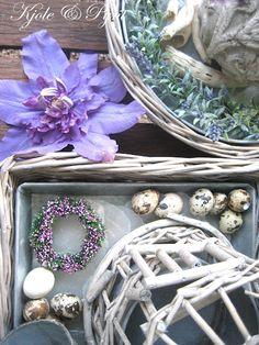 seidenfein 's Dekoblog: give me purple , give me grey ! ... Lila mit gekalkter Weide dekorieren ! Dekoblog, Terrarium, Collage, Table Decorations, Purple, Furniture, Home Decor, Lilac, Country Living
