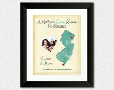 Long Distance Gift for Mom, Birthday Present for Mother, Personalized Map Print, Family Gift Idea, Mother-Daughter Quote, New Jersey Map Print, Keepsake, Map, Home Decor by #KeepsakeMaps on Etsy