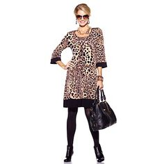 """I have this and it is so easy care I have worn it over a bathing suit on a cruise. Tiana B. """"Wild Thing"""" Leopard-Print Jersey Dress at HSN.com."""