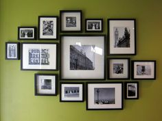 hearttreehome.com Ikea Frames, photo wall, wonderful photos and instructions on this website.  :)