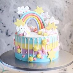 A rainbow cake is fun to look at and eat and a lot easier to make than you might think. Here's a step-by-step guide for how to make a rainbow birthday cake. Indian Cake, Baby Birthday Cakes, Happy Birthday, Star Cakes, Rainbow Birthday, Drip Cakes, Savoury Cake, Shower Cakes, Cake Designs