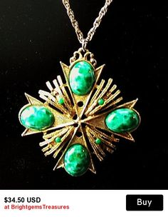 """Maltese Cross Pendant Necklace & Gold Chain Green Marbled Cabohons BIG 3"""" Vintage"""