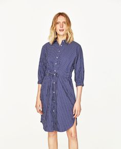 Image 3 of STRIPED SHIRT-STYLE TUNIC from Zara