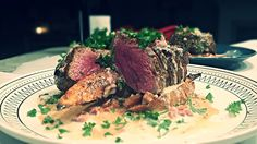 Blackened Filet Mignon with a Cajun Cream Drizzle and Oven Roasted Sweet Potatoes