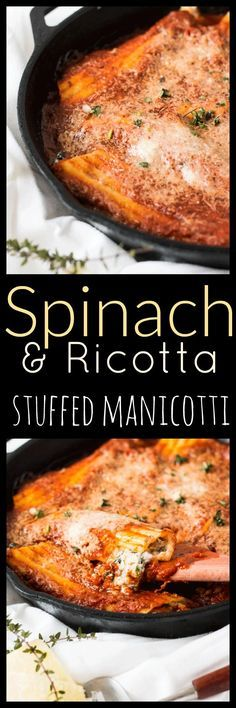 Spend time iwith the family and put together this delicate yet comforting Spinach, Mushroom and Ricotta Cheese Manicotti Skillet. via @wholefoodbellies