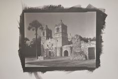 Mission Concepcion, San Antonio, Texas. Pure gold. The formula is: Prepare ammonium ferric ferrous oxalate by adding 3 to 10 drops 1% ascorbic acid (vitamin C) solution to 10 ml 40% ammonium ferric oxalate. Mix 10% gold chloride with the ammonium ferric ferrous oxalate at a ratio of  3 drops AFFO for every 4 drops of gold. Brush onto dry Arches Platine paper. Dry in dark for 15 minutes.  Place negative on paper and expose to UV or sunlight. First clearing bath is ice cold 2% sodium sulfite.