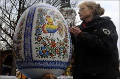 ... Easter egg at a traditional Easter market in Prague, Czech Republic