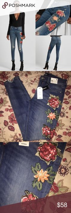 NWT | EXPRESS | Sequin Embroidered Jean Leggings Brand new w/ tags, never worn                                          See last pic for item details                           ✅QUESTIONS? JUST ASK! ✅OFFERS ✅BUNDLES ✅SAME/NEXT DAY SHIPPING  ❌SORRY, NO TRADES Express Jeans Skinny