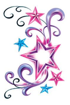 "This is a 3"" x 4"" Temporary Tattoo of Some Colorful Swirls and Stars"