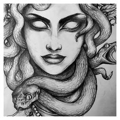 Sonja: Maybe I'm gonna choose you Medusa. #tattoo #drawing #bg #snakes... ❤ liked on Polyvore featuring accessories and body art