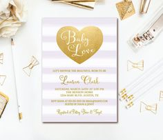 Purple Baby Shower Invitation Lavender Stripe By Invites2Adore Gold Showers