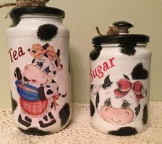 Cow Jars Set of Two Coffee Bar Upcycled GLass 20 oz Farm Kitchen Country Kitchen Country Home Cow Lover Housewarming Gift Farm Kitchen Cows Cow Kitchen Decor, Cow Decor, Kitchen Jars, Kitchen Themes, Kitchen Cupboard, Mason Jar Gifts, Mason Jar Diy, Farmhouse Dinnerware, Decoupage Jars
