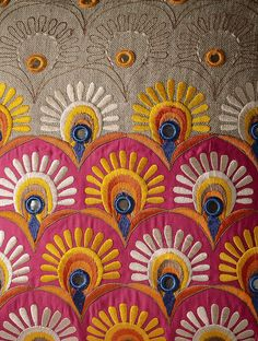 Grey Kutch Folk Peacock Feather Cushion Cover 16in x 16in