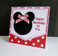 ~Minnie Mouse by sistersandie - Cards and Paper Crafts at Splitcoaststampers Disney Cards, Card Stock, Minnie Mouse, Happy Birthday, Greeting Cards, Paper Crafts, Bows, Frame, Photoshoot