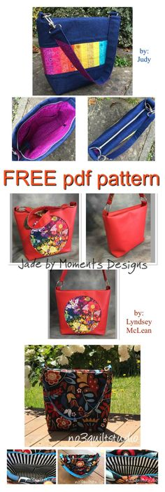 """Here is a FREE pdf pattern to make a medium-sized purse called """"Jade"""". This fast, easy pattern can be made with cotton, denim, decorator fabrics, cork or faux leather. #freesewingpattern #freebagpattern #freepursesewingpattern"""