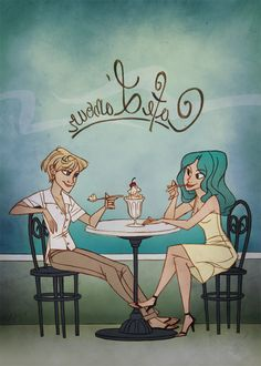 "Kind of looks like Ellen and Porsia ""Cafe L'amour"" Sailor Moon (well, Uranus and Neptune) fan art by taffygiraffe on Deviantart."
