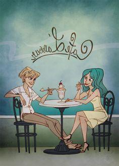 """Cafe L'amour"" Sailor Moon (well, Uranus and Neptune) fan art by taffygiraffe on Deviantart."