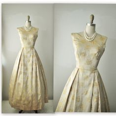 Hey, I found this really awesome Etsy listing at http://www.etsy.com/listing/171911568/50s-evening-gown-vintage-1960s-gold