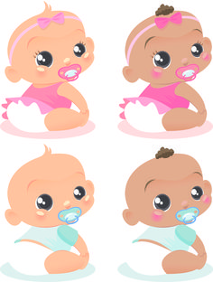 free vector Cute baby vector of foreign