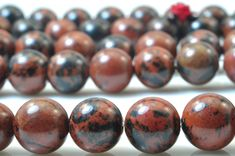 37 pcs of Natural Mahogany Obsidian, Freckle stone,Swan Stone, smooth round beads in 10mm
