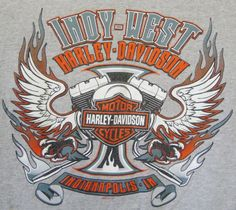 Harley Davidson Indy West T-shirt Large Eagle Indianapolis Mens Gray Cotton #HarleyDavidson #GraphicTee