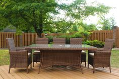 Del Ray Patio 7 Pc Rectangle Dining Set by South Sea Rattan - American Rattan Furniture - Sectional Patio Furniture, Rattan Outdoor Furniture, Rattan Dining Chairs, Sunroom Furniture, Furniture Ideas, Dining Table, Dining Sets, Patio Dining, Metal Furniture