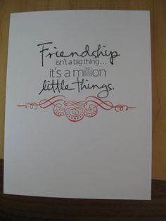 Frienship quote card hand stamped by LSquaredDesign on Etsy