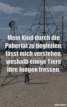 Mein Kind durch die Pubertät zu begleiten, lässt mich verstehen, weshalb einige Tiere ihre Jungen fressen. ... gefunden auf https://www.istdaslustig.de/spruch/3844 #lustig #sprüche #fun #spass