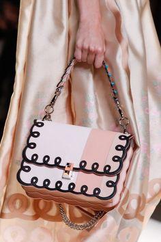 EVGENIA GL Fendi Pink/Black Flap Bag - Spring 2017