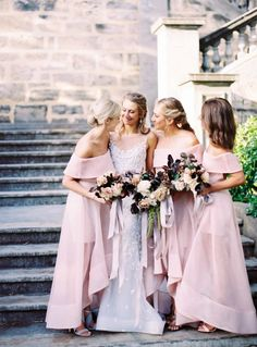 Bridesmaids looking fab in off-the-shoulder blush gowns: http://www.stylemepretty.com/australia-weddings/western-australia-au/2017/03/16/this-dress-will-completely-slay-you-and-the-wedding-behind-it-will-too/ Photography: Katie Grant - http://www.katiegrantphoto.com/