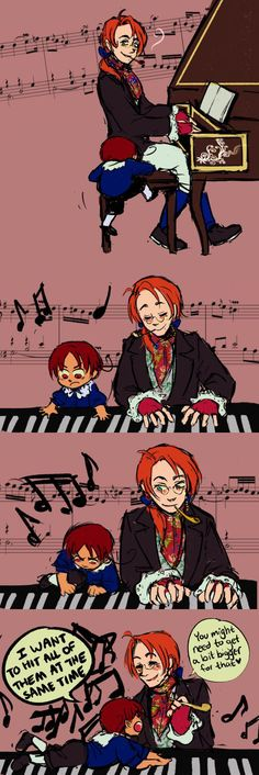 Hetalia  2p Austria and 2p little Italy : Piano